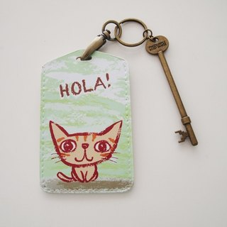 Multifunction card sleeve key ring -Hola! Small yellow cat