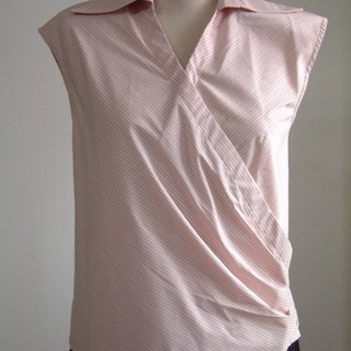 Hypotenuse sleeveless shirt collar shirt (pink stripe)