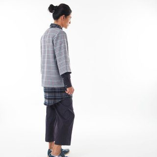 Sevenfold - Bicolor plaid stitching pant color checkered stitching trousers (dark blue)