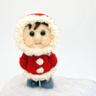 Wool felt dolls - red dress Eskimo child