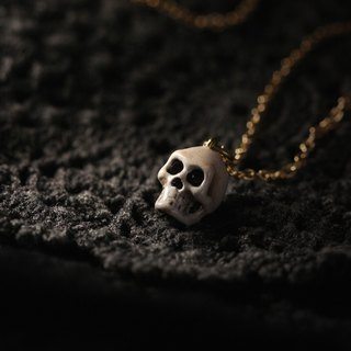 Small Human Skull Necklace - Painted Version by Defy / Handcrafted Jewelry / Cool Charm Pendant Jewelry