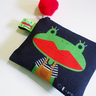 E * group package small box double-sided design (A frog black field) Purse Wallets card packs