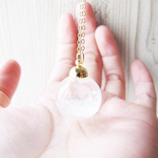 *Rosy Garden* Snow white glitter with water inisde glass ball necklace