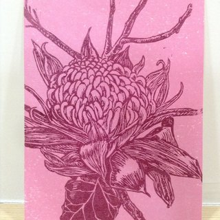 Flame flower - hand-printed Indian postcard