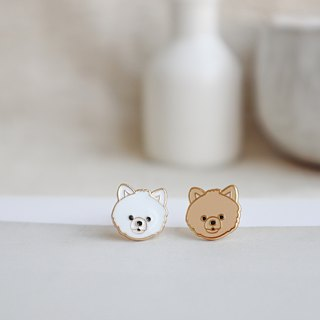 Pomeranian dog pin earrings