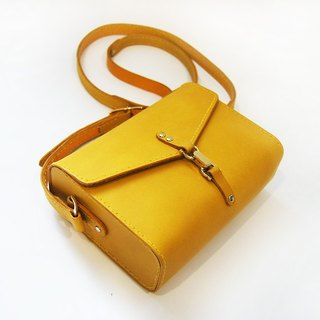 Bright yellow leather saddle bag / oblique back / side backpack