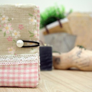 NO.12- Japanese cherry, lace, plaid, pink // No. 12 Passport Case / Universal bags