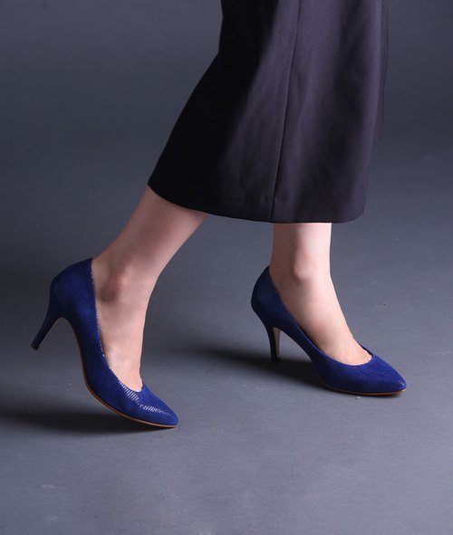 [Sum] Micro Toe fashion sexy thin heels pointed muted blue lizard _