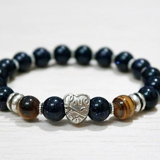 Natural Stone x Alloy Bracelet _ Love Blue Sand - Mail Free Shipping - # Neutral # # Boyfriend Gift # # Father's Day #