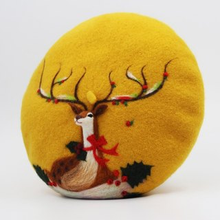 Christmas gift original handmade wool felt beret painter cap needle felting perspective deer - Yellow