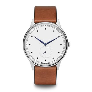 HYPERGRAND - Small Seconds Series - Silver White Dial Honey Leather Watch