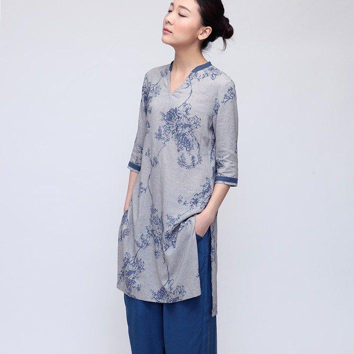 亞麻改良中式旗袍 禪風套頭長衫 莫蘭迪色  D140501