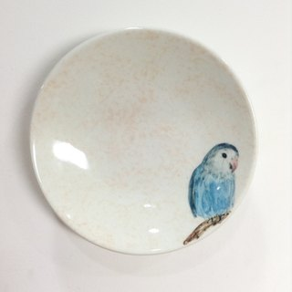 Small blue parrot (Ban Bo optional background color) - parrots painted saucer / sauce dish