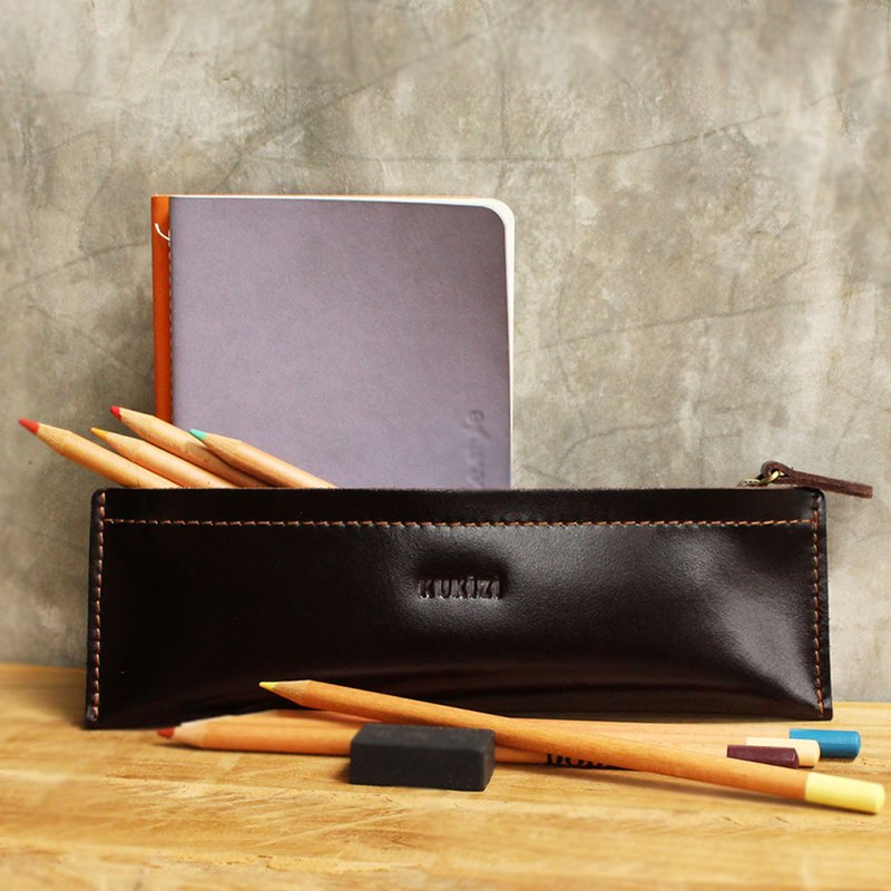 Pencil case - Pie - Brown (Genuine Cow Leather) / Pen case / Accessories Case