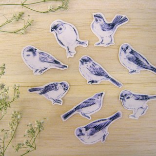 """Hello! Sparrow"" hand cut transparent stickers 9 into"