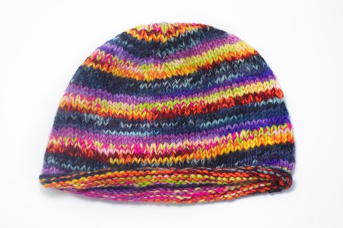 New Year's gift Limited hand-woven pure wool hat / knitted caps / wool cap (made in nepal) - Gradient colorful stripes