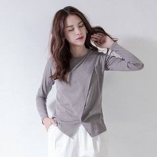 SUMI Sloping front panel open fork shape oblique gray T-shirt _5AF003_