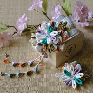 Hana Saku [zu ma Mi fretwork] Mucha. Mori の Elf | 2 Dian combination of Japanese-style kimono cloth flower wind flower hairpin hair ornaments handmade creation