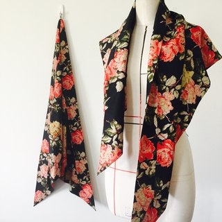 Vintage Woman Silk Rose Print Large Triangle Towel / Shawl