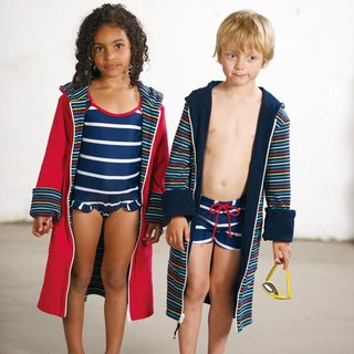 European organic cotton children's bath towel / bathrobe hooded 2-sided wear blue / red