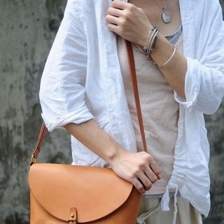 Hand Stitched Camel Color Leather Shoulder Bag/ Carry On Bag