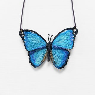 Embroidery Butterfly Necklace / Menelaus Blue Morpho Butterfly