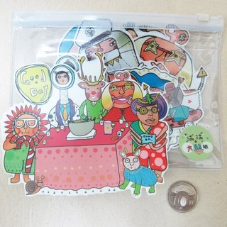 Large-stickers set [ Barefoot family ] 7pc