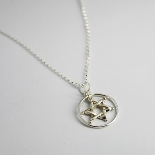 Silver Necklace - Circle Line Star {Circle Line Star / 925 Sterling Silver}