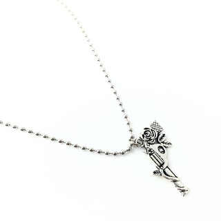 Rose pistol silver necklace