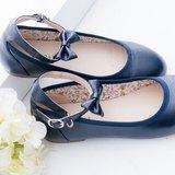 『Baby Day』優雅甜心 質感腳踝蝴蝶結(可拆式)娃娃鞋 深藍色