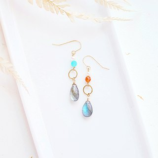 Phantom Labradorite Strong Blu-ray Mini Breeze Earrings 14K GF Japanese Gifts Natural Stone Light Jewels