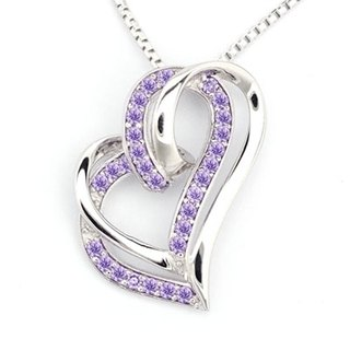 Adorable Heart 925 Sterling Silver Purple CZ Necklace (16')