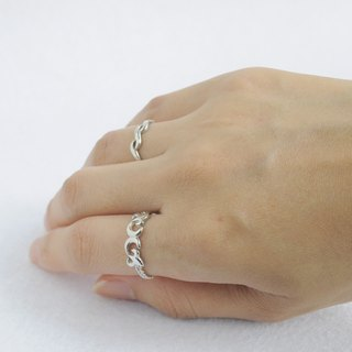 Classical pattern chain ring 925 sterling silver