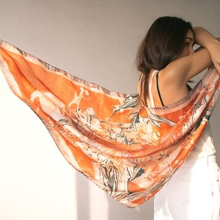 Sahara Scarf - Marble and water colour scarf in orange