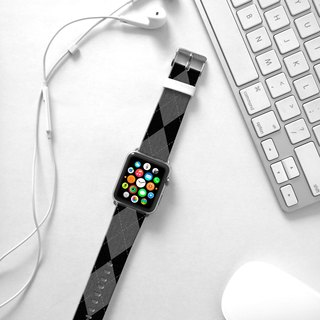 Apple Watch Series 1 , Series 2, Series 3 - Black Argyle Pattern Watch Strap Band for Apple Watch / Apple Watch Sport - 38 mm / 42 mm avilable