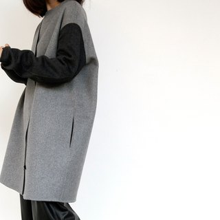 Gao fruit / GAOGUO original designer brand women's 2014 autumn and winter long section of zipper profile shape Coat
