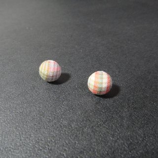 (C) _ Plaid Orange Green cloth tip button earrings CA18BTZ13