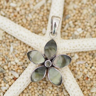Flower pendant of shell <Tahiti Brown>