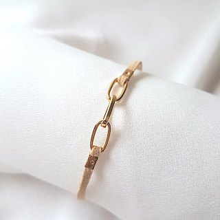 Simple sense of metal chain ring suede rope thin ring (three colors)