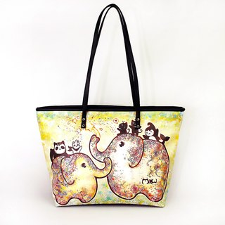 Meow good flowering water repellent painted elephant Tote