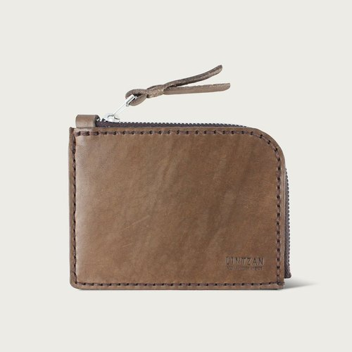 "LINTZAN ""hand-stitched leather"" multi-functional zipper purse / wallet / wallet - brown"