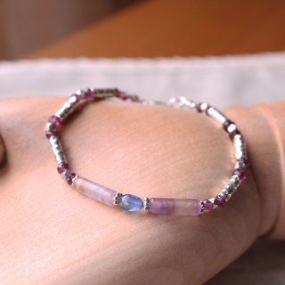 Journal (macarons bite) - Berry marine / silver hand-made, natural stone hand Bracelet
