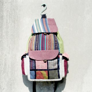 Valentine's Day gift hand knit cotton after stitching backpack / travel bag / mountaineering backpacks - national wind colorful sky
