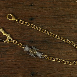Cross Virgin Mary Wallet Chain brass hook Iron Cross of the Virgin carved waist chain (sterling silver cross section)