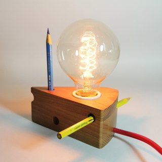 Ash wood cheese lamp (including retro Edison light bulb)