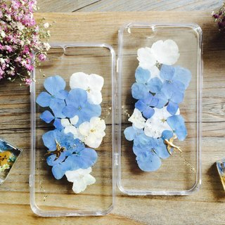Pressed flowers Phone Case/Hydrangea/design of blue sky