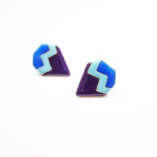 Retro diamond pattern filigree enamel earrings (blue-violet)