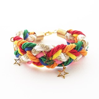 Colorful rainbow braided bracelet with gold stars