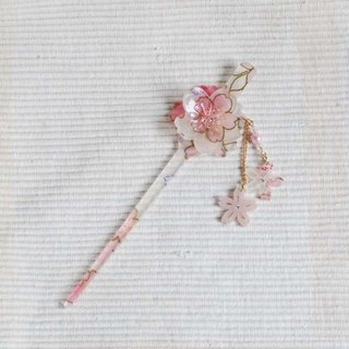 Sakura soft, double cherry swaying, hairpin, hair plug - white