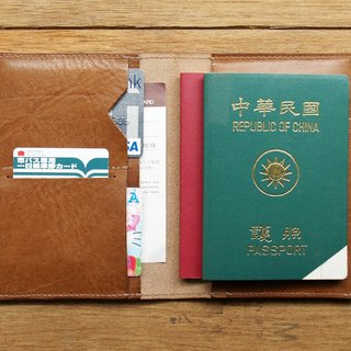 Leather Passport Case ( Custom Name ) - Caramel Coffee